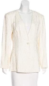 Carmen Marc Valvo Textured Collarless Blazer