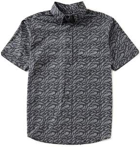 Roundtree & Yorke Short-Sleeve Feather Print Untucked Shirt
