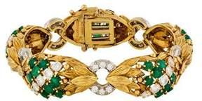 David Webb Emerald & Diamond Link Bracelet