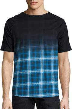 Madison Supply Men's Ombre Plaid Elongated Tee