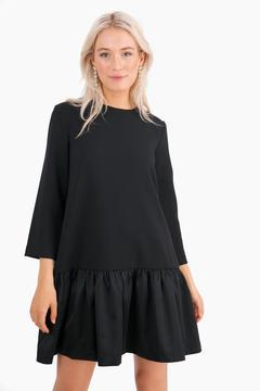 Edit Black Satin Sutton Peplum Dress