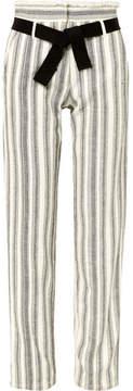 Vanessa Bruno Iwen Belted Striped Cotton-canvas Straight-leg Pants - White