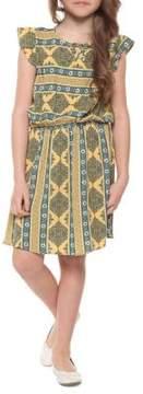 Dex Little Girl's Printed Flutter-Sleeve Dress
