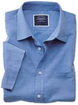 Charles Tyrwhitt Slim Fit Cotton Linen Short Sleeve Bright Blue Plain Cotton Linen Mix Casual Shirt Single Cuff Size Small