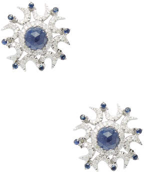 Artisan Women's Sun Shape Sapphire & Diamond 14K White Gold Stud Earrings