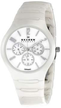 Skagen White Ceramic Multifunction Unisex Watch 817SXWC1