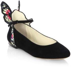 Sophia Webster Chiara Butterfly-Embellished Suede Ankle-Strap Flats