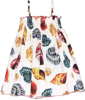 Dolce & Gabbana Seashells Print Cotton Poplin Dress