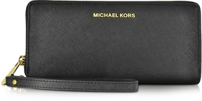 Michael Kors Jet Set Travel Large Continental Wristlet Leather Wallet - BLACK - STYLE