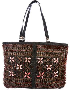 Oscar de la Renta Leather-Trimmed Embellished Tote