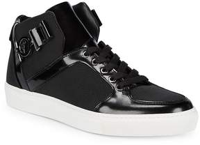 Versace Men's Leather Hi-Top Lace-Up Sneakers