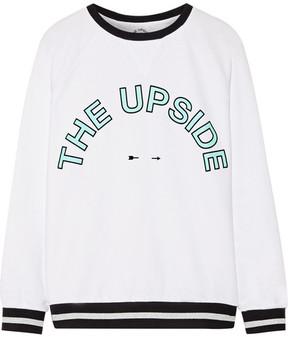 The Upside Sid Flocked Printed Cotton-terry Sweatshirt - White
