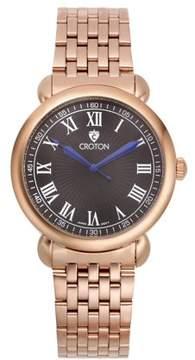 Croton Men's Heritage Rosetone Stainless Bracelet Watch with Black Dial