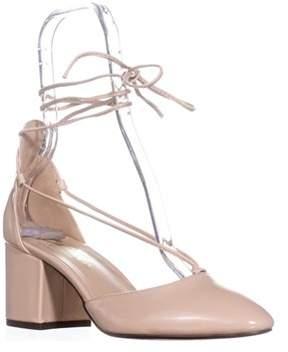 Callisto Corda Lace-up Heels, Nude Patent.