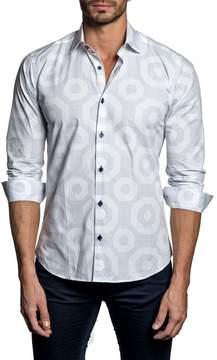 Jared Lang Long Sleeve Hexagon Trim Fit Woven Shirt