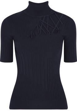Cushnie et Ochs Natalia Lace-up Ribbed-knit Turtleneck Sweater - Midnight blue
