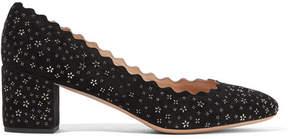 Chloé Lauren Scalloped Embellished Suede Pumps - Black