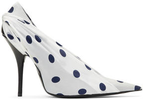 Balenciaga White and Navy Polka Dots Heels