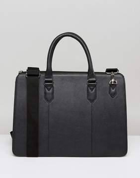 Asos Briefcase In Black Leather