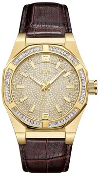 JBW Apollo Crystal Pave Brown Leather Men's Watch