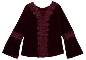Soprano Bell Sleeve Velvet Top (Big Girls)
