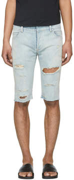 Balmain Blue Distressed Denim Shorts