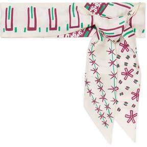 Valentino Printed Silk-twill Scarf - Ivory