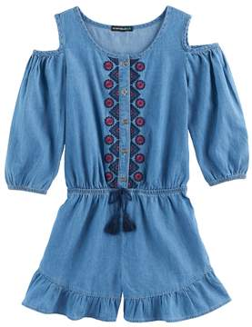 My Michelle Girls 7-16 Embroidered Chambray Cold Shoulder Romper