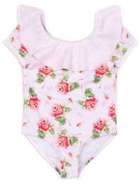 Betsey Johnson Little Girl's One-Piece Floral Swimsuit