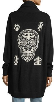 360 Sweater 360Sweater Scarlett Open-Front Skull Intarsia Cashmere-Blend Cardigan