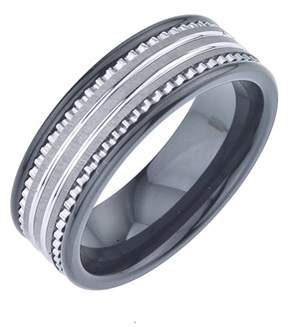Armani Exchange Jewelry 8mm Mens Wedding Band In Black Ceramic And Tungsten Carbide.