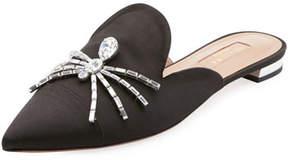 Aquazzura Crystal Spider Satin Flat Mule