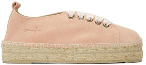 Manebi Pink Suede Hamptons Lace-Up Espadrilles