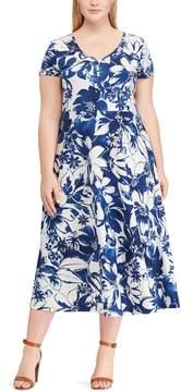 Chaps Plus Size Print Casual Dress