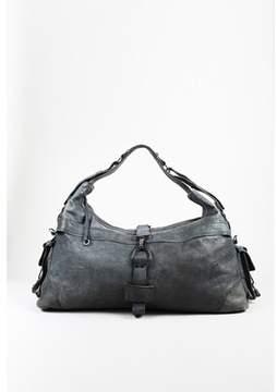McQ 1 Gray Leather Duffel Bag