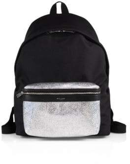 Saint Laurent Metallic Canvas & Leather Backpack