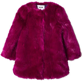 MSGM Fuchsia Faux Fur Coat