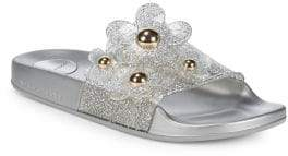 Marc Jacobs Daisy Embellished Metallic Glitter Slides