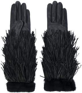 Agnelle rabbit fur trimmed tassel gloves