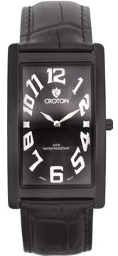 Croton Men's Aristocrat IP Black Curved Rectangular Stainless Watch with Black Dial