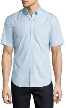 Burberry Cambridge Short-Sleeve Stretch-Cotton Shirt, Light Blue