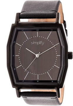 Simplify Black The 5400 Leather-Strap Watch