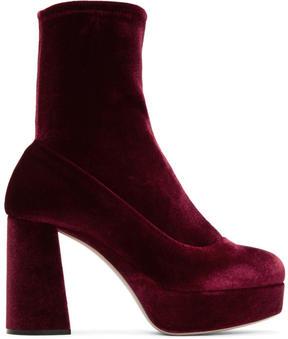 Miu Miu Burgundy Velvet Platform Sock Boots