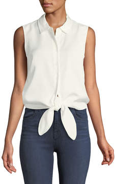 Catherine Malandrino Colby Sleeveless Button-Front Tie-Hem Blouse