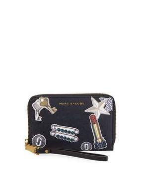 Marc Jacobs Tossed Charms Saffiano Zip Phone Wristlet Wallet - BLACK MULTI - STYLE