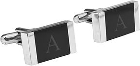Asstd National Brand Personalized Faux Onyx Stainless Steel Cufflinks