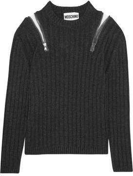 Moschino Zip-embellished Ribbed-knit Sweater - Charcoal