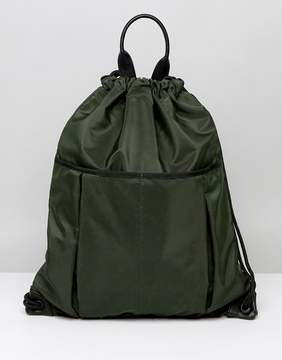 Asos Drawstring Backpack In Khaki With Front Pockets