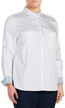 Basler Women's Solid Point-Collar Button-Down Shirt