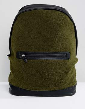 Asos Backpack In Khaki Borg With Faux Leather Trims